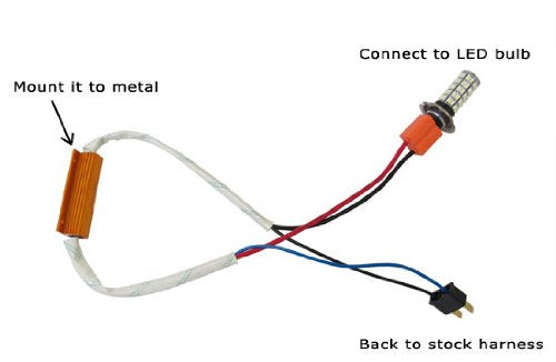 Plug-N-Play Error Free Decoder Wiring Kit For 9005 or 9006 LED Bulbs on Fog Lights or Daytime Running Lights-iJDMTOY