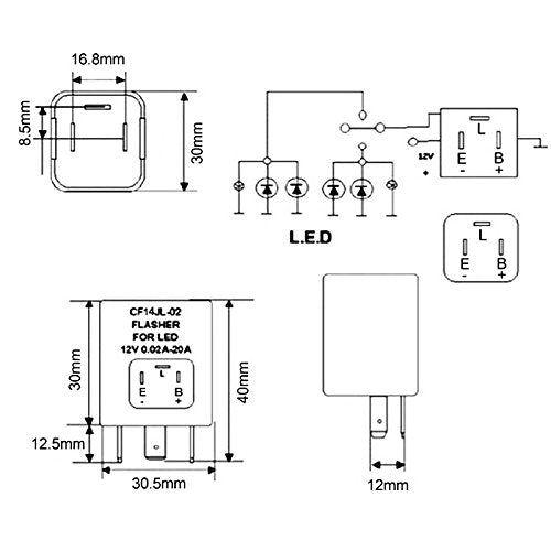 3-Pin CF14 EP35 Electronic LED Flasher Relay For LED Related Turn Signal on led flasher wiring diagram, led electronic flasher wiring, led flasher relay schematic, 3 prong turn signal flasher wiring,