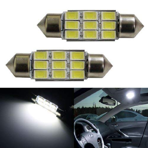 "Error Free 9-SMD-5730 1.50"" 36mm 6411 6418 C5W LED Bulbs w/ Built-in Load Resistors For European Cars-iJDMTOY"