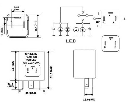 3-Pin CF-13 CF13 EP34 Electronic Flasher Relay Fix For LED Turn Signal on 3 pole relay diagram, 3 pin flasher wiring, 3 pole solenoid wiring diagrams, 3 wire flasher wiring,