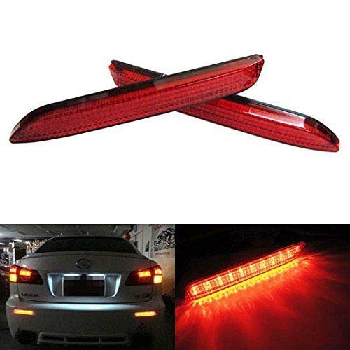 Red Lens 21-SMD LED Bumper Reflector Lights For Lexus RC250 RC350 is-F GX470 Toyota Sienna Matrix Venza Avalon, Function as Tail & Brake Lamps-iJDMTOY