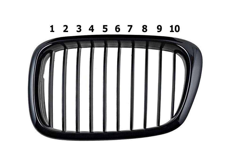 Exact Fit ///M-Colored Grille Insert Trims For 1995-2003 BMW E39 5 Series Kidney Grille w/ 10-Beam-iJDMTOY