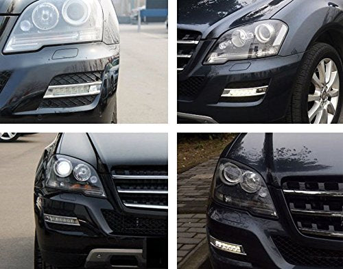Xenon White LED Daytime Running Lights For 09-11 Mercedes W164 ML-Class ML350 ML450 ML550 ML63 AMG, (2) OEM Fit DRL Assy Each Powered by 6 Pieces High Power Osram LED Lights-iJDMTOY