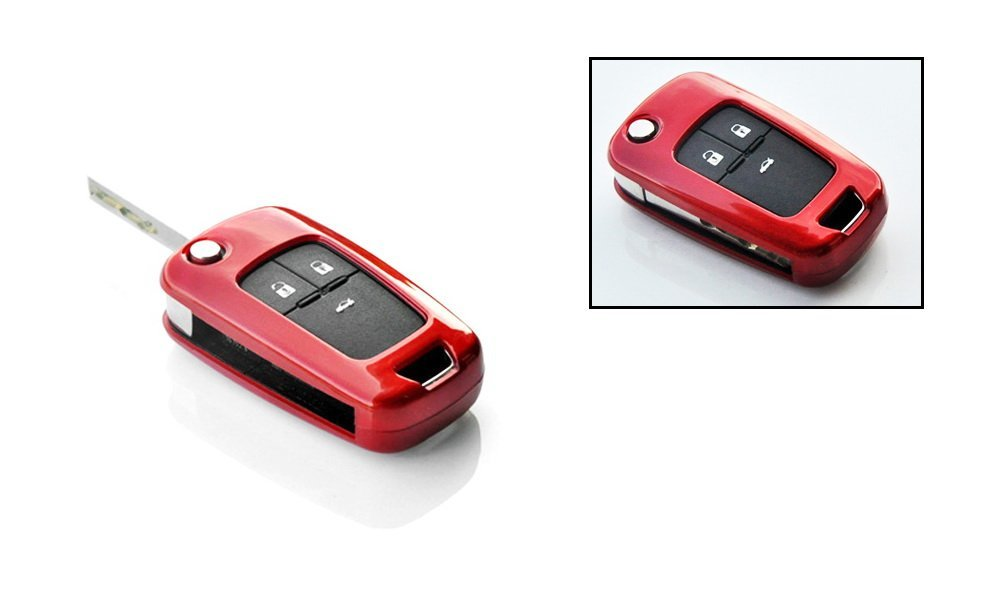 Exact Fit Glossy Black Blue or Red Smart Key Fob Shell Cover For Chevrolet  GMC 3 4 or 5 Buttons Folding Key Fob (Camaro Cruze Malibu SS Spark, etc)