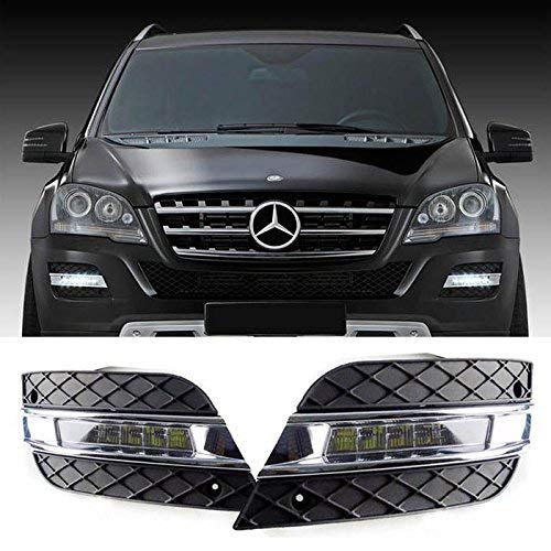 Xenon White LED Daytime Running Lights For 09-11 Mercedes W164 ML-Class  ML350 ML450 ML550 ML63 AMG, (2) OEM Fit DRL Assembly