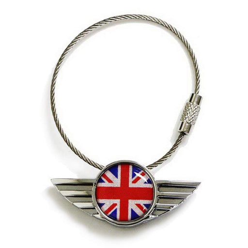 Chrome Polished Alloy Metal Classic Red/Blue UK Union Jack Wing Shape Key Chain Ring Keychain For All Mini Cooper R50 R52 R53 R54 R56 R57 R58 R59 R60 R61 F54 F56 F60, etc-iJDMTOY