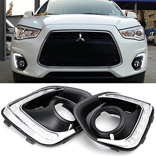 Xenon White LED Daytime Running Lights For 13-15 Mitsubishi Outlander Sport, (2) OEM Fit DRL Bezel Assembly Each Powered by 9 Pieces High Power LED Lights-iJDMTOY