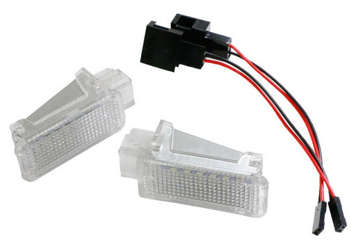 (2) Full LED Door Courtesy Lamp Assy For Audi A3 A4 A5 A6 A7 S3 S4 S5 S6 S7 Q5 Q7 TT, Volkswagen, Porsche, etc., OEM Replacement, Powered by 18-SMD Xenon White LED Lights & CAN-bus Error Free-iJDMTOY