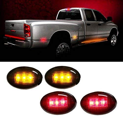 Clear or Smoked Lens Amber/Red LED Rear Bed Side Marker Lights Set For Chevrolet Silverado GMC Sierra 2500 3500 HD Dually Truck Double Wheel Side Fenders-iJDMTOY