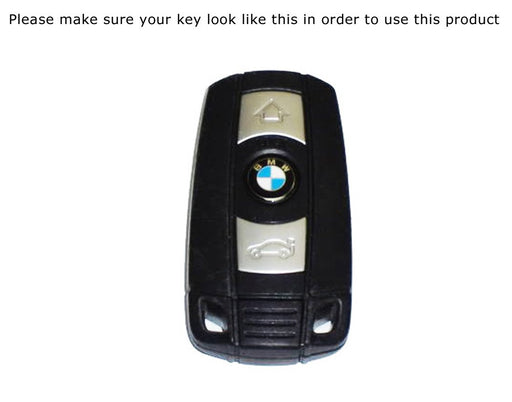 M-Colored Stripe Black Carbon Fiber Pattern Leather Key Holder with Keychain For BMW Remote Fob (For Older 1 3 5 6 Series X5 X6 Z4)-iJDMTOY