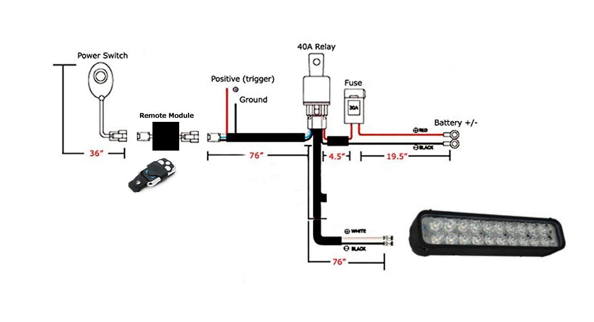 6ft long led light bar relay wiring harness w/ led indicator light switch  and strobe flash onoff wireless remote control