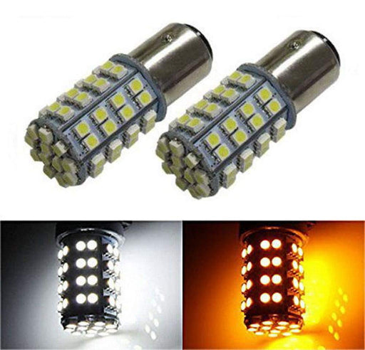 Bi-Color 60-SMD-3528 1157, 3157 or 7443 Switchback LED Bulbs (60-White 60-Amber) For Front Turn Signal Lights-iJDMTOY