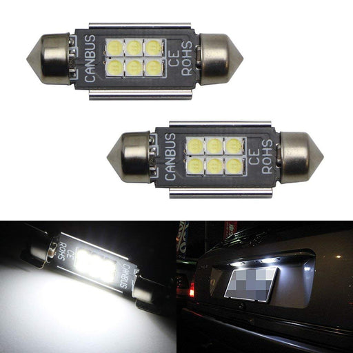 "Error Free 6-SMD-2835 1.50"" 36mm 6411 6418 C5W LED Bulbs w/ Built-in Load Resistors For European Cars-iJDMTOY"