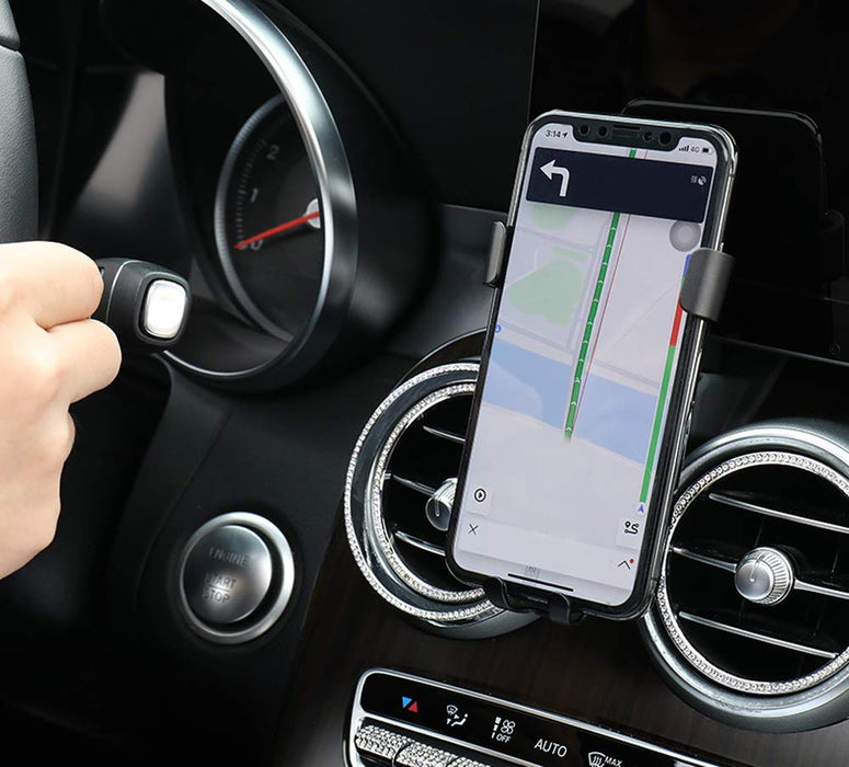 Smartphone Gravity Holder w/Exact Fit Clip-On Dash Mount For Mercedes  2015-up W205 C-Class, 2016-up X205 GLC-Class (Won't Occupy Air Vent Opening)