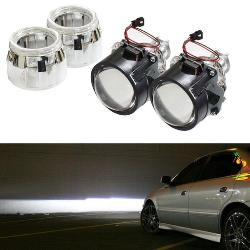 "2.5"" Mini H1 Bulb Size Bi-Xenon Projector Lens with Shroud For Headlight Retrofit DIY Use-iJDMTOY"