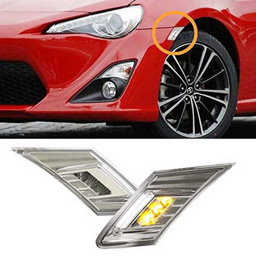 White/Amber LED Front Side Marker Light Kit For 2013-16 Scion FR-S, 13-19 Subaru BRZ, 17-up Toyota 86 (Parking Light: White LED, Turn Signals: Amber LED)-iJDMTOY