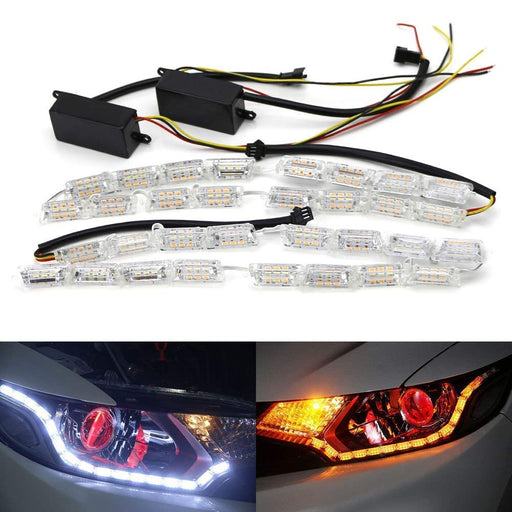 (2) White/Amber Switchback LED Strip Lighting For Headlight Retrofit w/ Sequential Turn Signal Feature-iJDMTOY