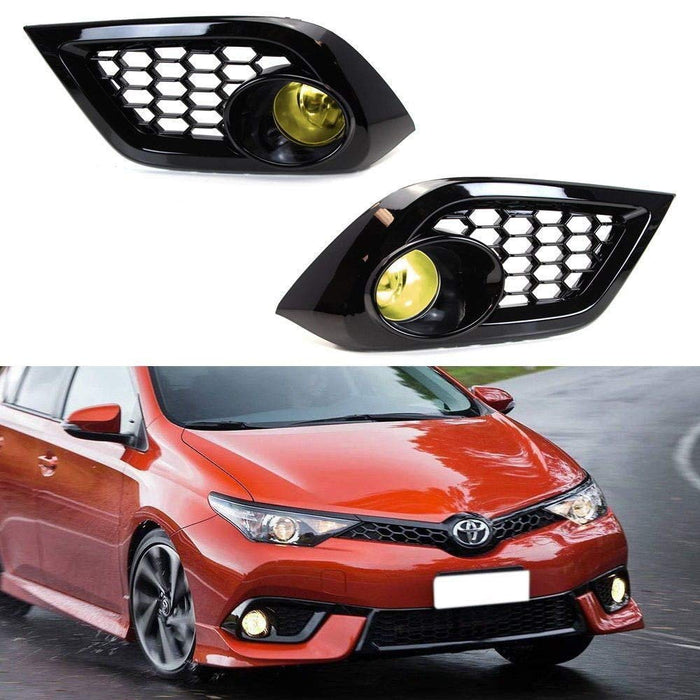 Clear or Yellow Lens Fog Lights Foglamp Kit with Halogen Bulbs, Bezel Covers, On/Off Switch & Wiring Relay For 2016 Scion iM, 2017-up Toyota Corolla iM-iJDMTOY