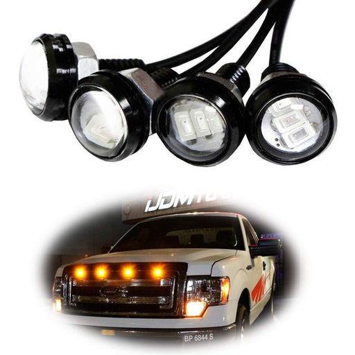 Ford Raptor Style Amber LED Grille Lighting Kit For Chevy Dodge Ford GMC, 4-Piece 3000K Grill or Side Marker Light Set-iJDMTOY