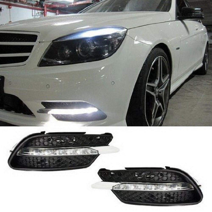 Xenon White LED Daytime Running Lights For 08-10 Mercedes Benz W204 C-Class  C300 C350 w/ Sports Package Bumper, OEM Style DRL Assembly