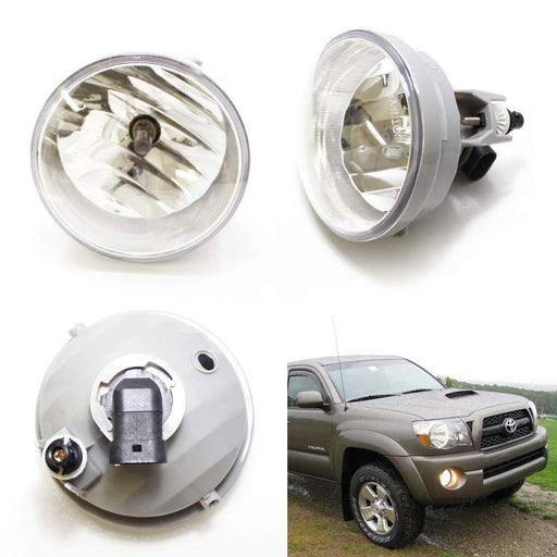 One Pair Driver Passenger Sides Fog Light Lamps w/H10 Halogen Bulbs For Toyota Tacoma Tundra Sequoia or Solara (OEM# 81210-AA030)-iJDMTOY