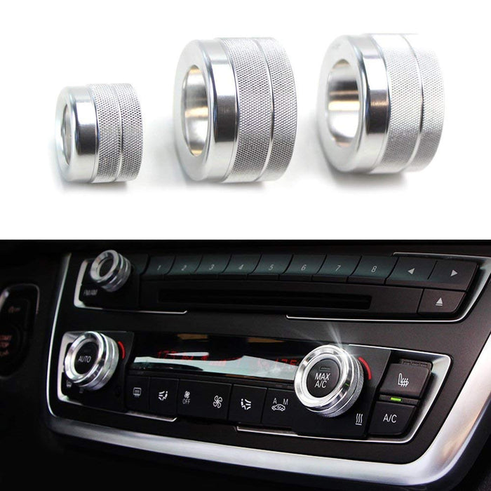 3pcs Blue Red or Silver Anodized Aluminum AC Climate Control and Radio Volume Knob Ring Covers For 2015-2017 BMW F25 X3, 2015-2018 F26 X4-iJDMTOY