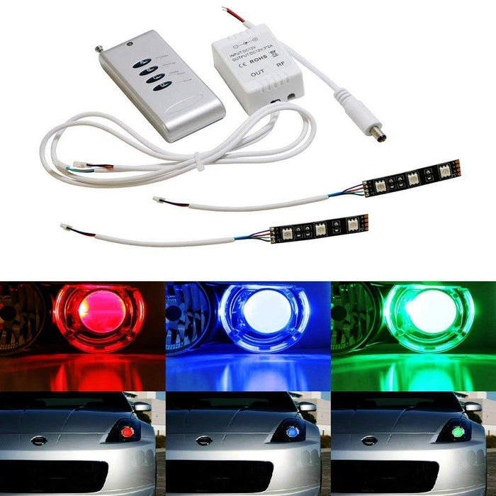 (2) 3-SMD-5050 RGB LED Demon Eye w/ Remote Control For Car Motorcycle  Projector Headlight Demon Eyes Retrofit