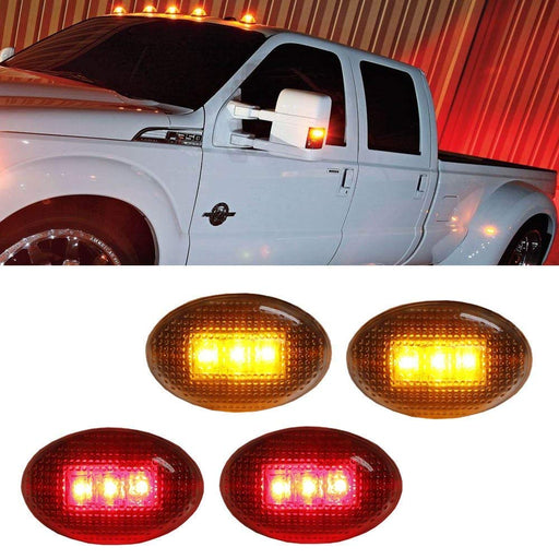 Clear or Smoked Lens Amber/Red LED Rear Bed Side Marker Lights Set For Ford F350 F450 Super Duty Truck Double Wheel Side Fenders-iJDMTOY