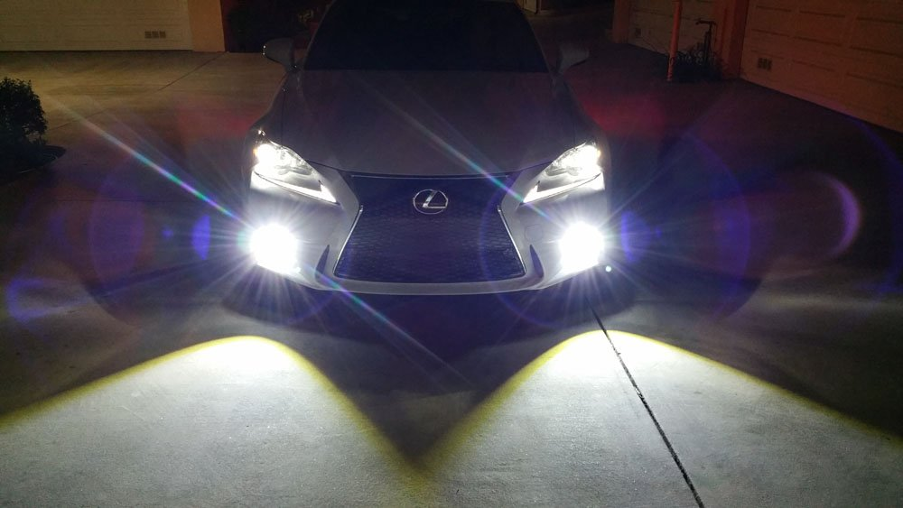 Xenon White or Amber Yellow Projector Lens LED Fog Lights For 2014-2016  Lexus IS F-Sport (IS200t IS250 IS300 IS350), Powered by 15W High Power LED