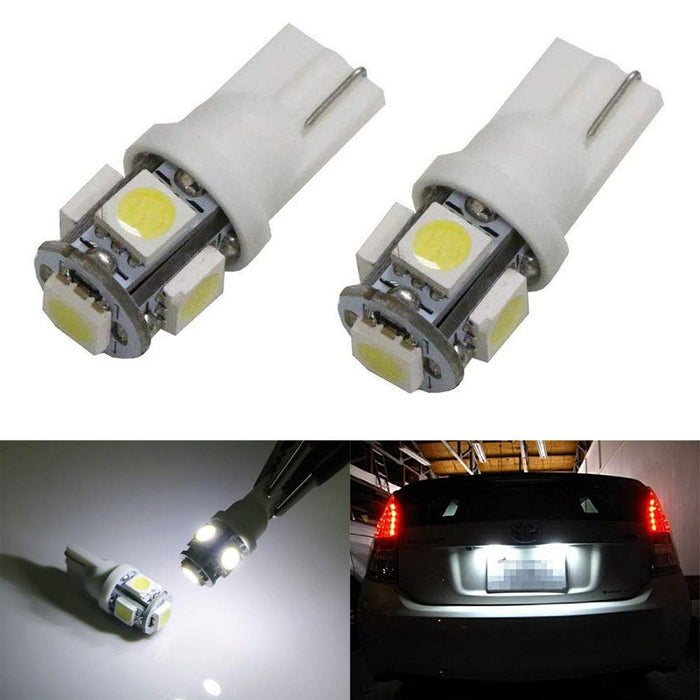 Captivating 360 Degree Shine 5 SMD T10 Wedge Light LED Bulbs 158 168 175 194