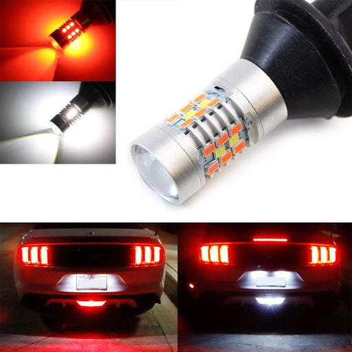 60-SMD White/Red Switchback LED Bulb Fit Ford Chevy For Rear Fog Light, Reverse Backup Light-iJDMTOY