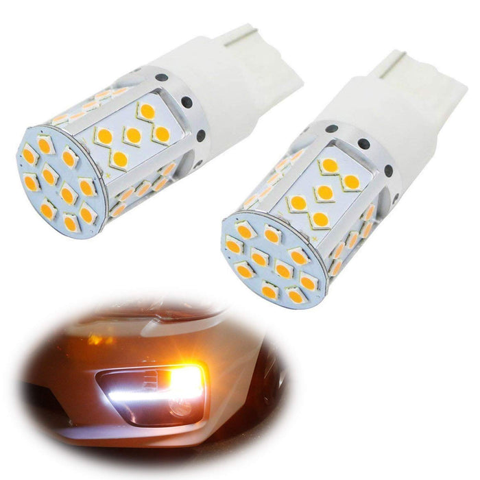 No Resistor, No Hyper Flash 21W High Power Amber 7440 W21W T20 LED Bulbs For Car Front or Rear Turn Signal Lights-iJDMTOY