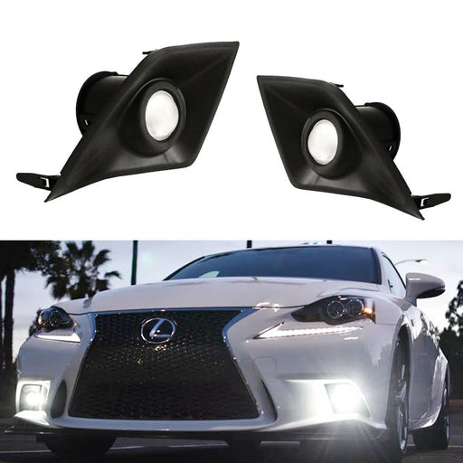 Xenon White or Amber Yellow Projector Lens LED Fog Lights For 2014-2016 Lexus IS F-Sport (IS200t IS250 IS300 IS350), Powered by 6000K 15W High Power LED Emitters-iJDMTOY
