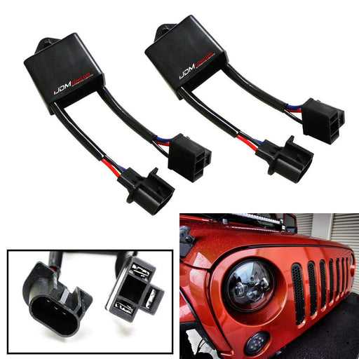 "H4-To-H13 For Jeep Wrangler JK Anti-Flicker Decoders Fit Any 7"" Round LED Headlight Systems-iJDMTOY"