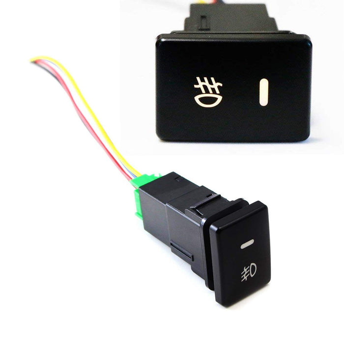 Factory Style 4-Pole 12V Push Button Switch w/ LED Background Indicator Lights For Fog Lights, DRL, LED Light Bar, etc (200 Series For Toyota, 33x22mm)-iJDMTOY