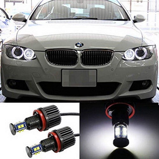 360° H8 LED Angel Eye Ring Marker Bulbs For BMW 1 3 5 Series Z4 X5 X6, Powered by 80W XB-R5 High Power CREE LED Lights-iJDMTOY