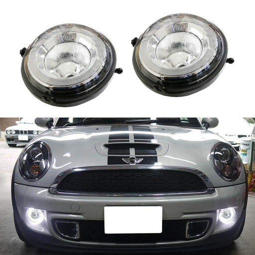 Xenon White LED Daytime Running Lights Fog Lamps Assy For MINI Cooper R55 R56 R57 R59 R60 R61 etc. Halo Style LED DRLs Powered by (30) High Power SAMSUNG LED Lights-iJDMTOY