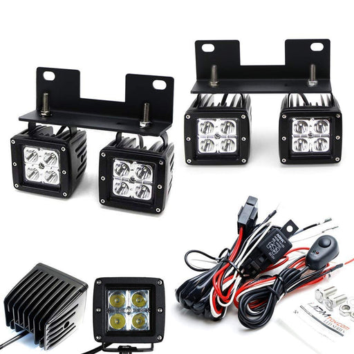 Dual LED Pod Light Fog Lamp Kit For 2004-06 Ford F150 & 06 Lincoln Mark LT, Includes (4) 20W High Power CREE LED Cubes, Foglight Location Mounting Brackets & On/Switch Wiring Kit-iJDMTOY