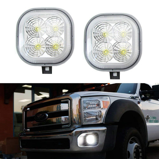 Clear Lens Xenon White LED Fog Lamp Assy For 99-16 Ford F250 F350 F450 & 01-04 Excursion, OEM Fit Powered by 40W CREE LED Lights-iJDMTOY