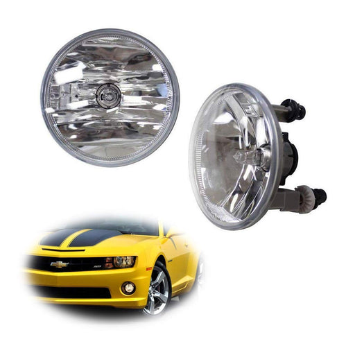 One Pair Driver Passenger Sides Fog Light Lamps w/5202 Halogen Bulbs For Chevrolet GMC Ford (OEM# 15839896)-iJDMTOY