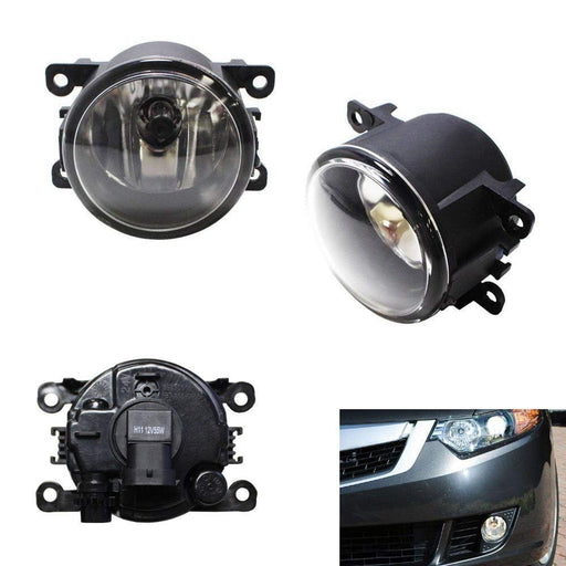 A Pair Driver Passenger Sides Fog Light Lamps with H11 Halogen Bulbs For Acura Honda Ford Nissan Subaru Suzuki, etc-iJDMTOY