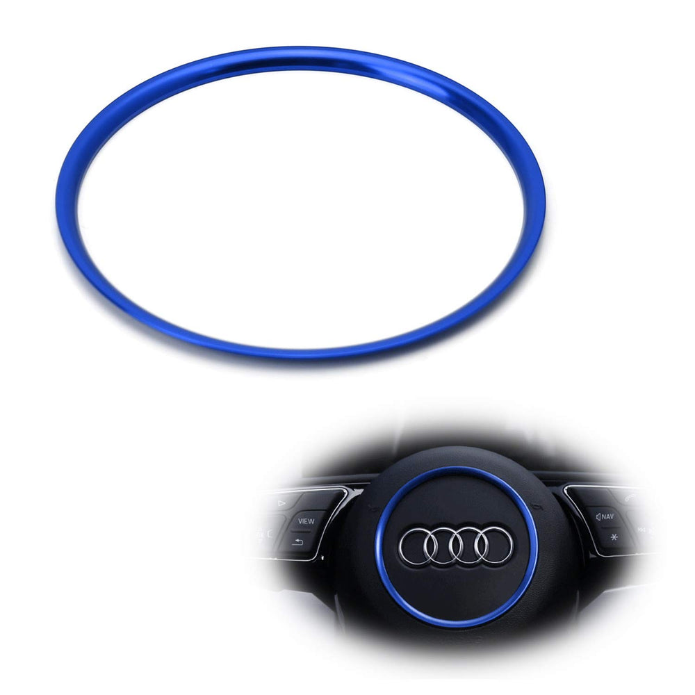(1) Blue or Red Aluminum Steering Wheel Center Decoration Ring Cover Trim  For Audi A3 A4 A5 A6 TT S3 S4 S5 S6 Round Shape Center Emblem
