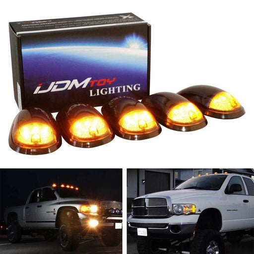 5pc Smoked Lens Amber LED Cab Roof Clearance Marker Lamps For Dodge RAM 1500 2500 3500 Ford F-Series Chevy/GMC Trucks etc., 5-Piece Roof Running Light Set-iJDMTOY