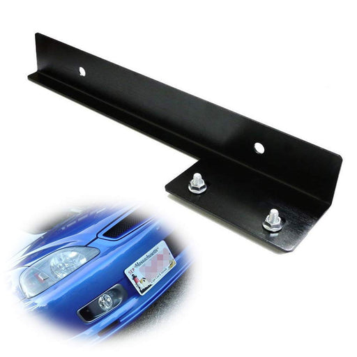 JDM Style Universal Fit Front Bumper License Plate Relocator Bracket Holder Bar, Black or Silver-iJDMTOY