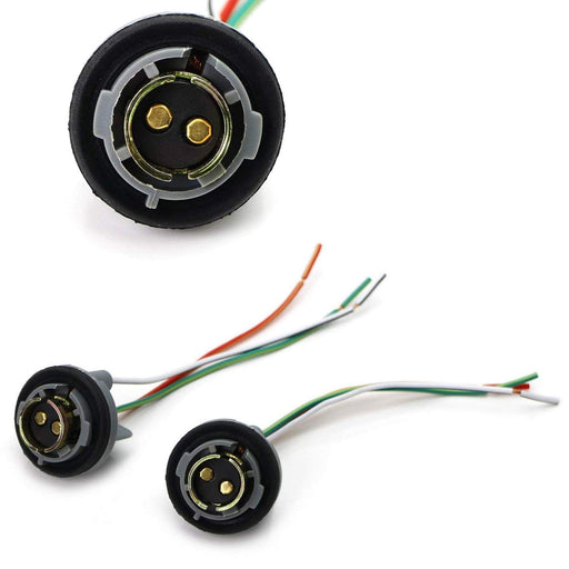 1157 2057 2357 7528 Metal Socket/Base w/ Pigtail Wiring Harness For Turn Signal, Brake/Tail Lights or LED Bulbs Retrofit, etc-iJDMTOY