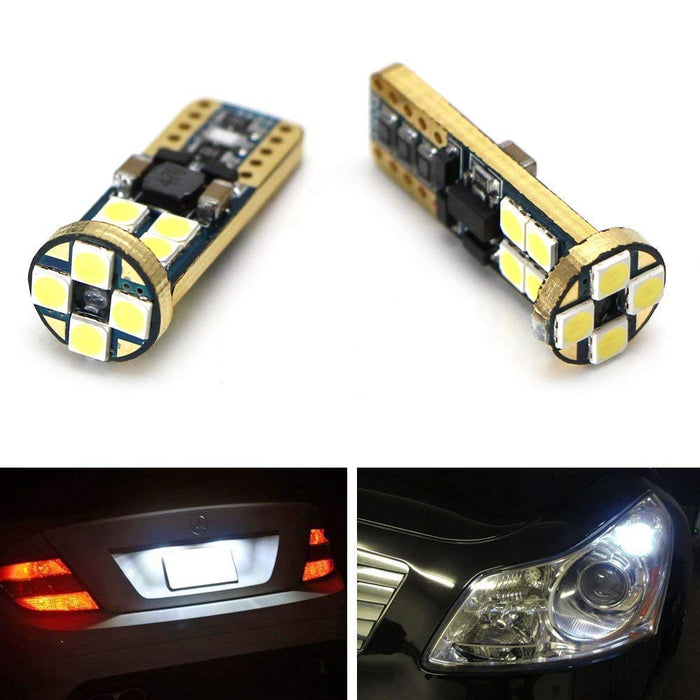 High Power 12-SMD-5050 168 194 2825 W5W T10 LED Bulbs For License Plate Lights or Parking Position Lights, Xenon White-iJDMTOY