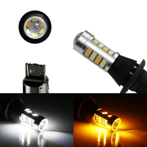 Xenon White/Amber Yellow No Hyper Flash 1156 3156 or 7440 Switchback LED Bulbs For Front Turn Signal Lights or DRL-iJDMTOY