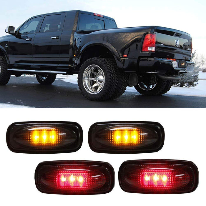 Clear or Smoked Lens Amber/Red LED Rear Bed Side Marker Lights Set For 2003-2009 Dodge RAM 2500 3500 Heavy Duty Dually Truck Double Wheel Side Fenders-iJDMTOY