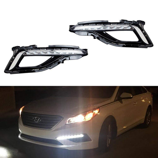 Xenon White LED Daytime Running Lights For 2015-up Hyundai Sonata SE, OEM Style DRL Bezels-iJDMTOY