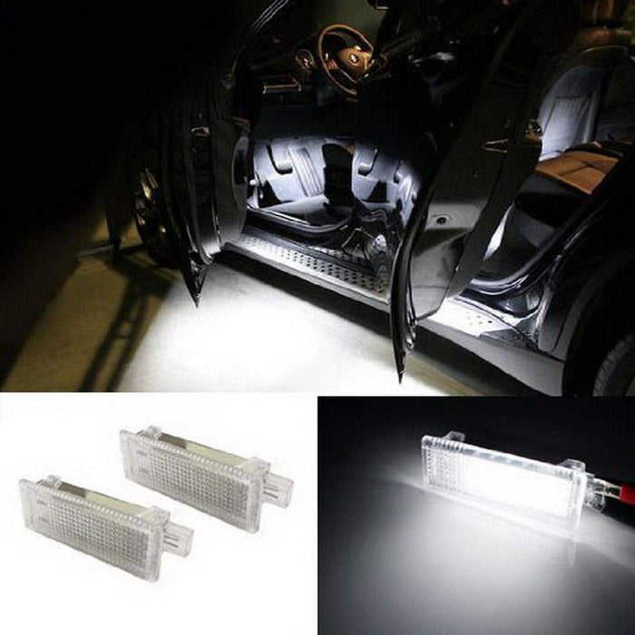 (2) 18-SMD LED Side Door Courtesy Lamp Assy For BMW 1 3 5 6 7 Series Z4 X3 X5 X6, OEM Replacement, Powered by Xenon White LED Lights & CAN-bus Error Free-iJDMTOY